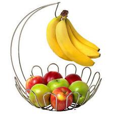 Moderno Acero Inoxidable Plata Frutas Vegetales cesta Estante Bowl y Banana Colgador