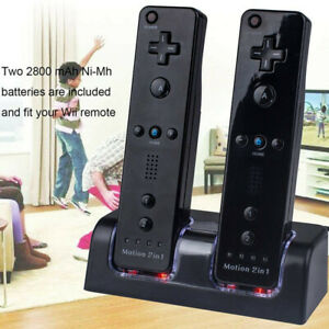 2xRechargeable Battery Dual Charger Dock Station for Nintendo Wii Remote Control