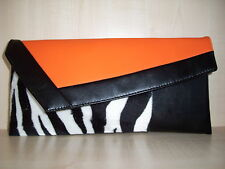 ORANGE, BLACK & ZEBRA print faux leather & velboa clutch bag made in UK.