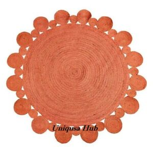 Rug Round 100% Natural Jute Braided Reversible Modern Living Area Carpet Rag Rug