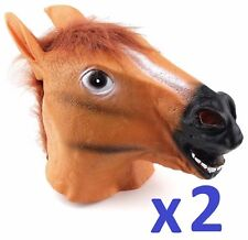 2 PACK x HORSE HEAD FANCY DRESS LATEX ANIMAL MASK HALLOWEEN PARTY MOVIE COSTUME