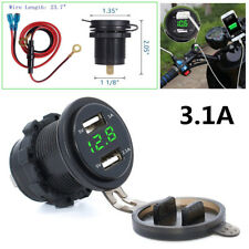 New Car Motorcycle Dual USB Charger Socket Power Outlet 3.1A Green LED Voltmeter