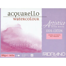"""Fabriano Artistico Watercolour Paper Extra White Block 12""""x9"""" HP Smooth Surface"""