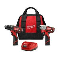 Milwaukee Cordless Drill / Impact Driver Combo Kit 2 Tool 2 Batteries Charger
