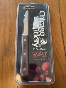 "NIP CHICAGO CUTLERY USA 3"" Parer/ Boner Knife 102S The Walnut Tradition Vintage"