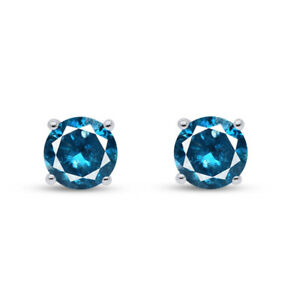1 Ct Round Cut Blue Earrings Studs Solid Real 14K White Gold Screw Back Basket