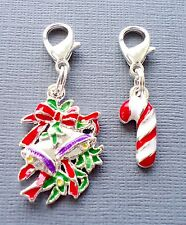 2 pcs Christmas Clip On Charm Dangle Fit for Link Chain floating locket C179