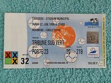 1998-Original de la Copa del Mundo partido Billete-Rumanía V Inglaterra