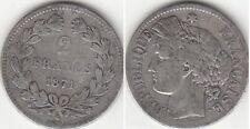 Monnaie Française 2 francs argent Cérès Sans Légende 1871 K