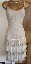 FABULOUS ❤️ KAREN MILLEN Size 1 UK 6 8 Mocha Crochet Gatsby Flapper Party Dress