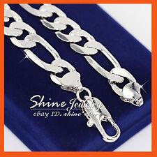 18K WHITE GOLD FILLED FIGARO CRUB RING LINKS CHAIN 18CM SOLID BRACELET BANGLE