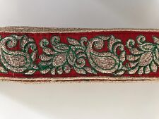 Atractivo oro zardoshi Paisley Bordar Rojo Indio silkyfabric Recortar/Encaje - 1MTR