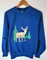 Vintage 80s 90s Bassett Walker Deer Sweatshirt Outdoor Nature USA 50/50 Sz XL