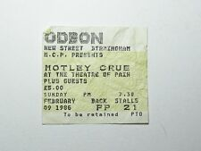 Motley Crue Rare Concert Ticket Birmingham Odeon Feb 1986 UK