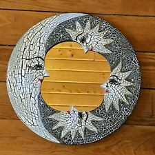 Whimsical Black & White Painted Wood Lady in the Moon w Three Suns Mirror Wall