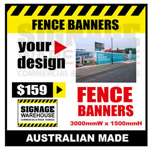 Custom Outdoor Fence Mesh Banner Sign Wrap - 3000mmW x 1500mmH Signage Warehouse