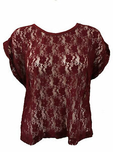Womens Lace Batwing Sleeve T-Shirt Ladies Summer Casual Loose Tops Blouse 8-14