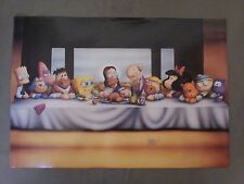 the simpsons poster and cartoon characters, the last supper.