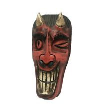 Balinese Devil Red Satan Demon Mask Folk Art Funny Scary Wall Art Hanging 7 inch
