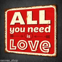 ALL YOU NEED IS LOVE INSPIRTIONAL WALL ART PICTURE CANVAS PRINT READY TO HANG