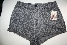 NWT Urban Outfitters BDG Black Gray Leopard Print High Rise Cheeky Shorts 31 $54