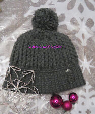 Handcrafted Crocet Ribbed Hat gray buttons pom pom Women Style Fashion A51