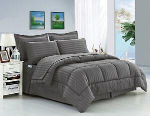 Soft Embossed Dobby Stripe 8PC Bed In Bag Comforter Sheet Set Sham Pillowcase