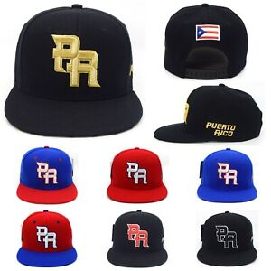 Puerto Rico Side name Snap back hat Flag 3D PR Flat Bill Rico Baseball Poly Cap