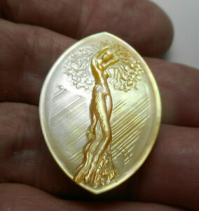"""Large Carved Gold Tree Goddess in the Rain MOP Pearl New Button 1-3/8"""" NP"""