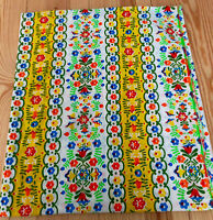 Vtg 70s Mod Vibrant Drape Curtain Panel Floral Stripe Colorful Retro 82 x 96