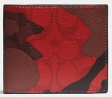 COACH '3 in 1 Camouflage' Men's Sig Canvas Billfold Wallet Removable ID RED NWT!