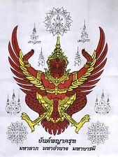 GARUDA PHAYA KRUT TALISMAN CLOTH PHRA LP RARE OLD THAI BUDDHA AMULET PENDANT#38