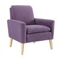 Modern Accent ArmChair Living Room Fabric Single Sofa Wood Leg With Soft Cushion