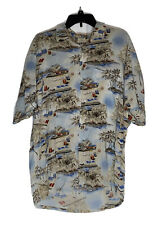 Campia Moda Button Down Hawaiian Shirt ~ L ~ Beige ~ Rayon ~ Short Sleeve