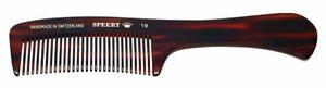 "Speert Handmade Swiss European Comb Style #19 7.38""Inches Havana Brown Tortoise"