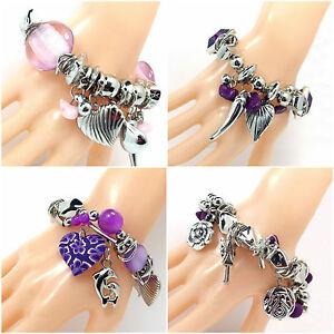 Womens Bracelet Jewellery Charms Heart Crystal Beads Stone Ladies Girls