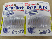 "2 Sets of 2 Clear Grip Tuth Hair Combs (4 combs) 2 3/4"" Good Hair Days USA #414"