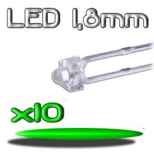 360/10# LED verte 1,8mm 10pcs --- 8000mcd