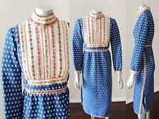 Prairie Polka Dot VTG 60s 70s Midi Blue White Dutch Choker Long Slv Dress Sz M