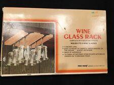 Vintage Fox Run Under Cabinet Wooden Wine Glass Rack 11 x 7 x 0.75 Inches Brown