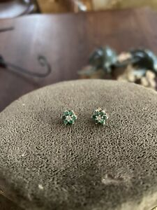 14k White and Yellow Gold Diamond And Emerald Earrings