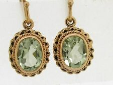 E066- Genuine 9K 9ct Solid Rose / Pink Gold NATURAL Green Amethyst Drop Earrings