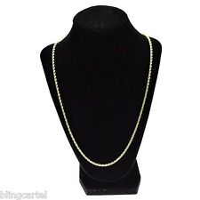 "Rope Chain 3 mm Gold Plated Twisted Braided Men Hip Hop 24"" Inch Thin Necklace"