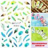 2Sheets Feather Charm 3D Nail Stickers Decal Nail Art Manicure Decoration Tips