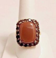 STERLING SILVER GOLD FILLED CAT'S EYE & CITRINE RING. SIZE 8.5