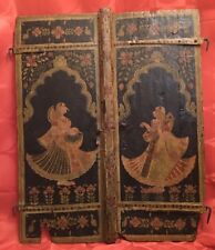 Antique 18th Century India PAINTED WOOD WEDDING SHUTTERS Tabla Sarod BRIDE GROOM