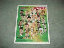 1990 Milwaukee Bucks NBA Basketball Team Poster w/Dale Ellis and Jack Sikma
