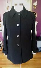 (London Fog)  Black  Single Breasted  3/4 Length  Pea Coat  Size Large  NNTGS