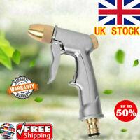UK High Pressure Water Spray Gun Brass Nozzle Garden Hose Pipe Lawn Car Wash Pop