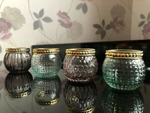 Set of 4 Glass Hammered Candle Tea Light Holders Vintage Pots Classic New